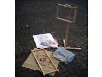 Adjustable Tapestry Stand, Bag Full of Threads, Frames Etc