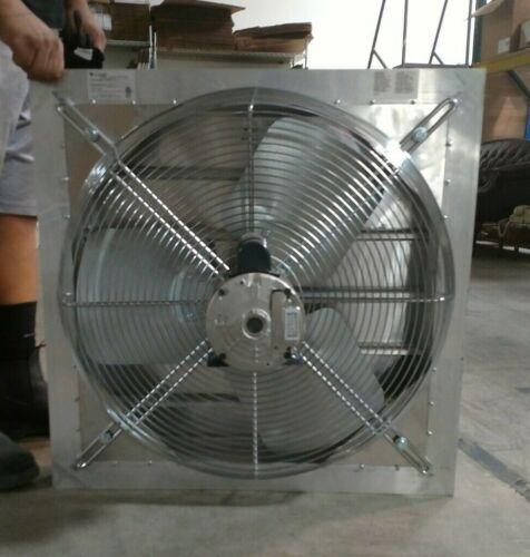 "DELHI AX24-1V 1/3 HP 24""-Dia. 115/230VACV Shutter Mount Exhaust Fan 26"" Square"