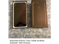 Band new Iphone 7 plus 128GB Jet black unlocked. Still in the box.