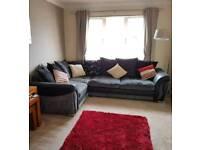 Corner sofa and swivel cuddle chair Located in Perth