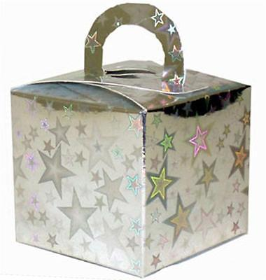 12 Holographic Silver Party Boxes Balloons Wedding Birthday Christening Favour