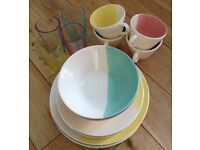 Dinner Set with Glasses. Multi Coloured