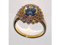 "NEW ""Peacock Fantasy"" Diamonesk Simulated London Blue Topaz Ring"