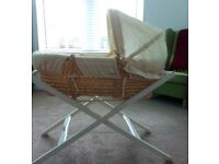 Mamas And Papas country whicker deluxe moses basket with carry cot stand. Vgood condition