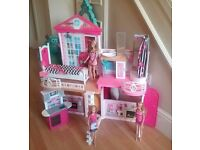 BARBIE COMPLETE DREAM HOUSE WITH FURNITURE AND THREE DOLLS