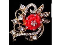 ladies red rose brooch
