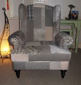 Sturdy, Very Comfortable High Wing Chair. Shades of Grey. Hand-made. RRP £699.00