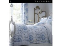 Dorma toile curtains 72in drop and matching double duvet cover and pillowcases