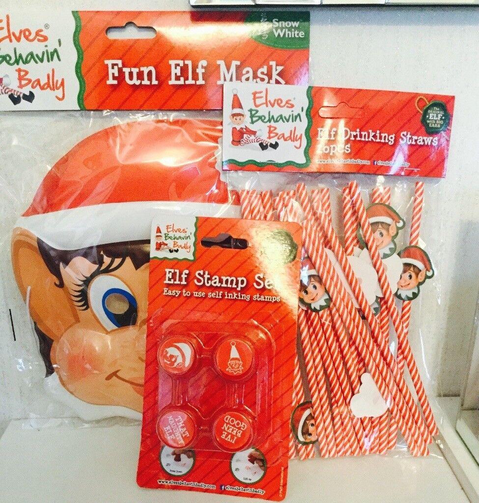 Elf children's mask stamping set and straws