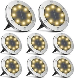NEW Infray Solar Ground Lights, Upgraded 8 LED Solar Disk Lights Outdoor – 8 Pack