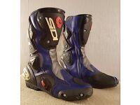 Postage Available *Sidi Vertigo Motorcycle Boots * Size 43 UK 9 *Blue Black *VGC *RRP £170