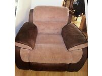 single suede and fabric reclinging chair