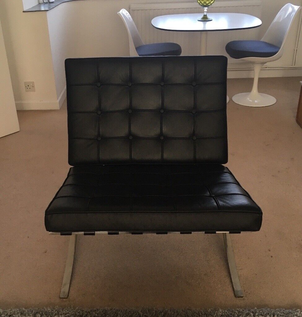 Barcelona Black Leather Chair
