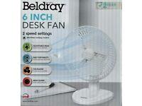 Beldray 6 Inch White Desk Fan Brand New in box