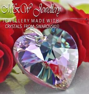 925 STERLING SILVER PENDANT CRYSTALS FROM SWAROVSKI® HEART VITRAIL LIGHT AB 28MM