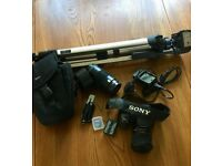 Sony Alpha DSLR-A100K Camera with accessories and extra lens. (Rarely Used)