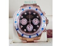Rosegold Rolex Daytona, diamaond Bezel, Diamond time stones. Rolex bagged, Boxed with paperwork