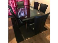 Harvey's Glass Dining Table and 6 Leather Chairs For Sale In Great Condition Delivery Available
