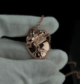 Anatomical Heart Necklace ( silver / gold ) - Heart Necklace, biomechanical necklace, anatomy heart,
