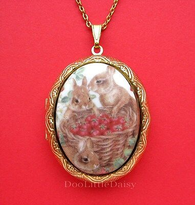 Porcelain Easter BUNNY RABBIT and STRAWBERRY CAMEO Locket Pendant Necklace Gift