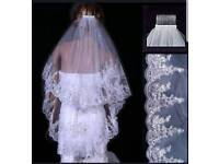 New 2 Layer White Elbow Length Lace Sequin Wedding Bridal Veil With Comb