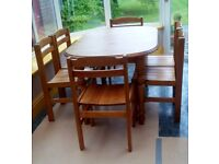 Extendable solid pine dining table with 6 chairs