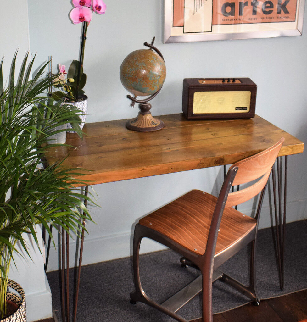 Rustic Handmade Industrial Desk Chair Hairpin Leg Table 100cm X