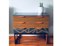 Unique mid-century revamped chest of drawers