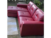 Ex-display 3 Seater Rio Red Leather Lounger ( left or Right handed lounger )