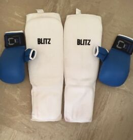 Karate gloves and sheens pads