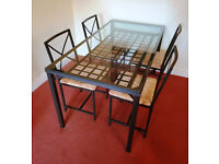 Ikea Granås Dining Table with 4 chairs - glass and black metal