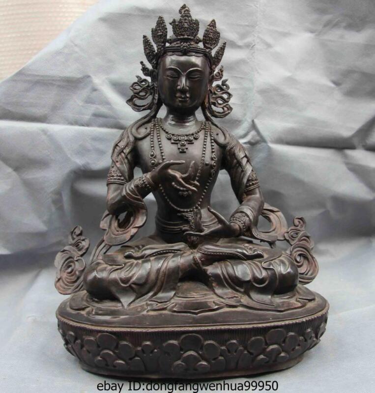 Copper Bronze Vajradhara Guan Yin Kwan-yin Boddhisattva Goddess Buddha Statue