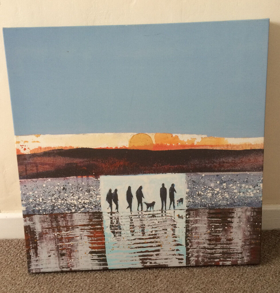 Stretched canvas print - Abstract beach scene 60 x 60 cm