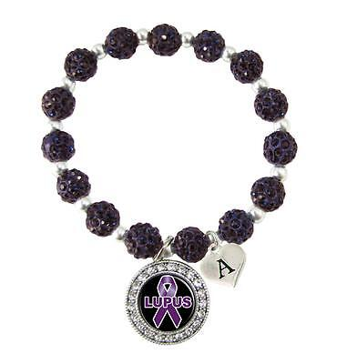 Custom Lupus Awareness Purple Bling Bracelet Jewelry Choose Initial Family Charm