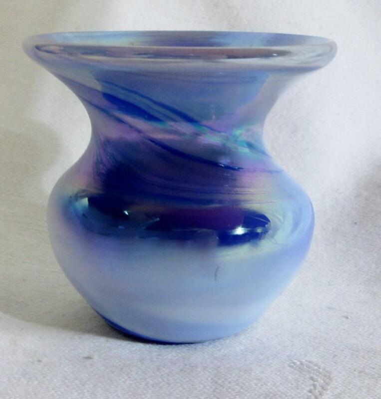 """1984 GIBSON Art Glass BLUE SWIRL TOOTHPICK HOLDER    2"""""""