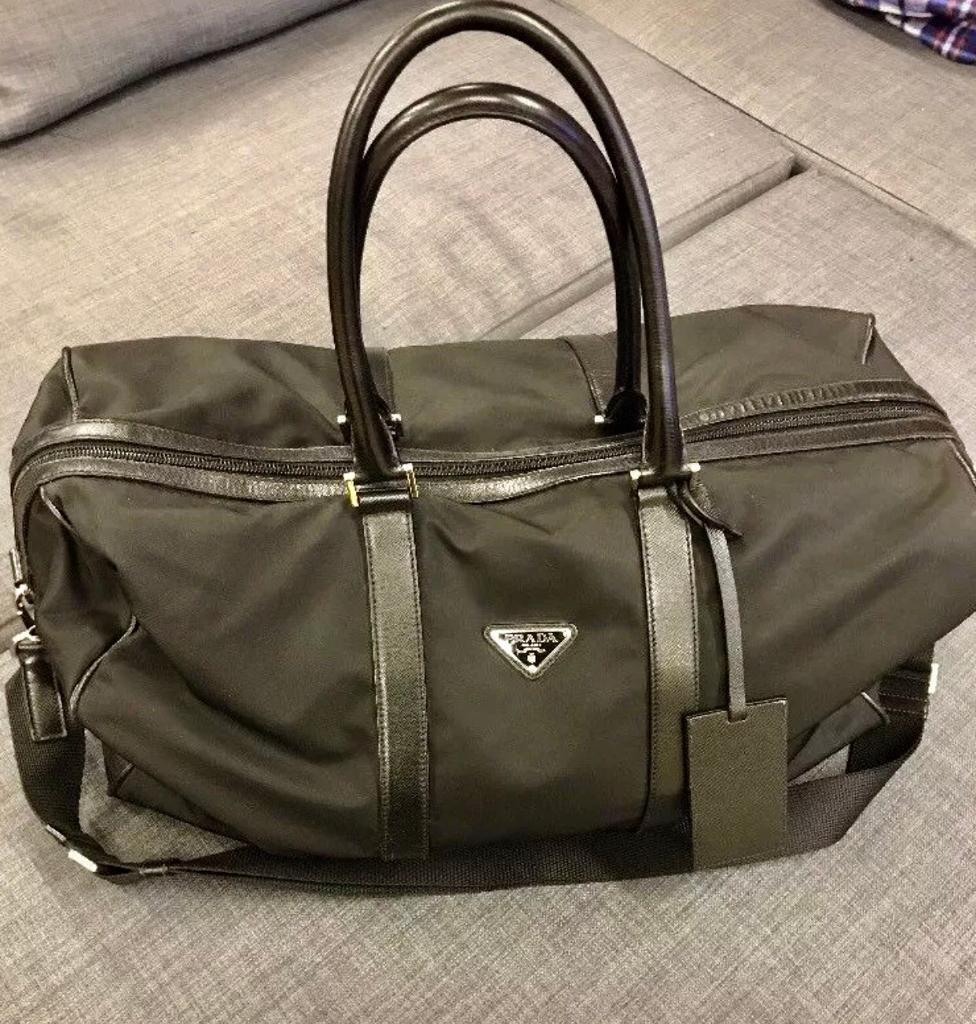 63aeb47c0638 Prada Travel Bag Black Nylon   Saffiano Trims with padlock Authentic ...