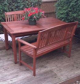 SOLID WOODEN PATIO TABLE with TWO SOLID WOODEN PATIO BENCHES