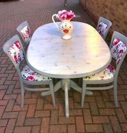 Upcycled tables and 4 chairs