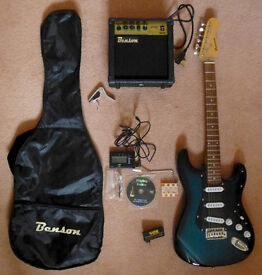 Benson Stratocaster Style Blue Electric Guitar with accessories and 10amp Amplifier