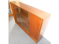 Teak Bookcase or Display Cabinet with Sliding Glass Doors and Cupboard