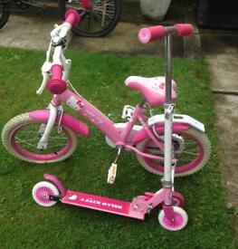 Hello Kitty 12inch bike & matching micro scooter