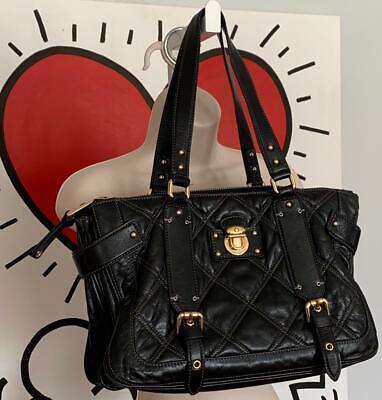 MARC JACOBS Quilted Black Leather SALONI Shoulder Handbag