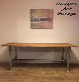Industrial style hand made dining table and bench- reclaimed wood and scaffold planks