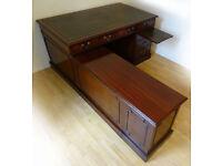 Antique 5 X 3 ft Corner Mahogany Leather Pedestal Desk / Workstation
