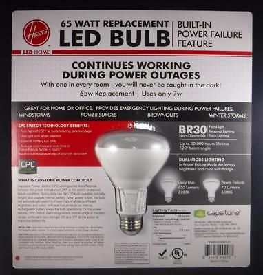 Hoover 65 Watt Replacement LED Bulb Lights up When you Loose Power Same Day Ship