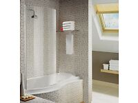 AQUALUX CURVED BATH/SHOWER SCREEN FOR NORMAL/P SHAPED BATH 720 X 1500MM