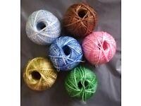 6 colours - 6 x 200m Crochet Soft Cotton Thread