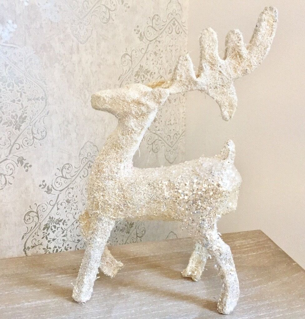free standing glittery cream white reindeer sequins christmas decoration sparkle