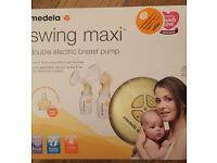 Medela Swing Maxi Double Breast Pump, Pumping Bra & Spare Shields - like new!