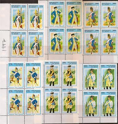 BENIN 1997 SOLDIERS BLOCK OF 4 CORNER SC # 952-957 MNH